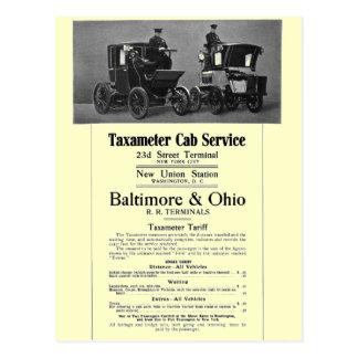 Postal B+Servicio 1908 del taxi de Taxameter del