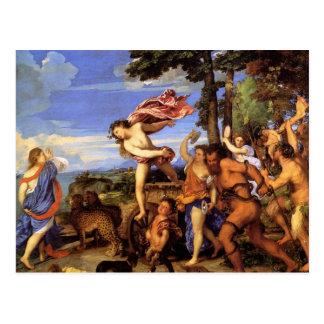 Postal Bacchus y Ariadne por Titian