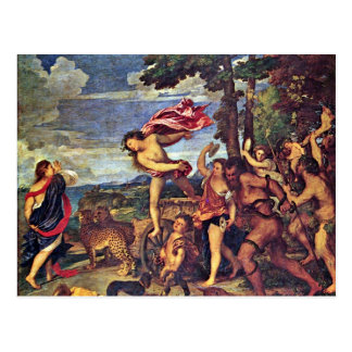 """Postal Bacchus y Ariadne """"por Tizian (la mejor calidad)"""