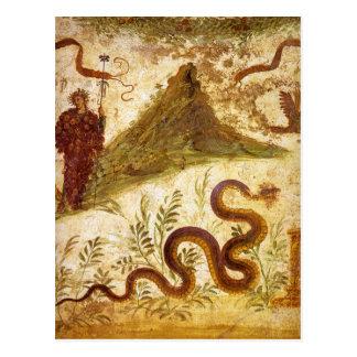 Postal Bacchus y serpiente Agathodaimon en Pompeya
