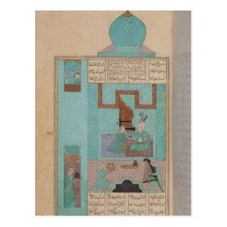 Postal Bahram visita a una princesa en la turquesa