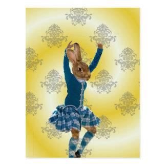 Postal Bailarín escocés de la montaña del conejo lindo