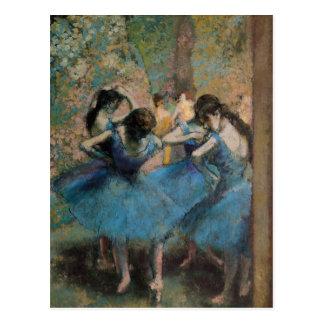 Postal Bailarines de Edgar Degas el | en el azul, 1890