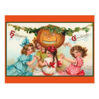 Postal Bailarines de Halloween del vintage