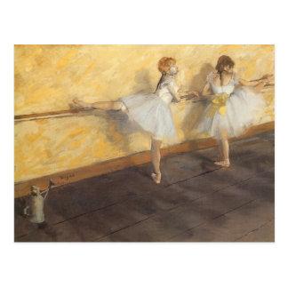 Postal Bailarines en la barra de Edgar Degas, ballet del