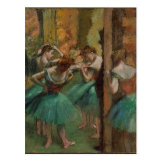 Postal Bailarines rosa y verde de Edgar Degas