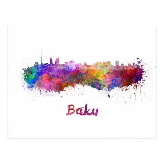 Postal Baku skyline in watercolor