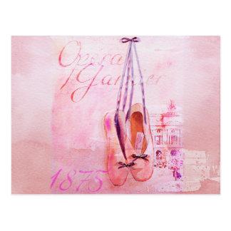 Postal Ballet rosado del bailarín de la bailarina de la