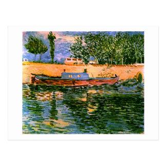 Postal Bancos del Sena con la bella arte de Van Gogh de
