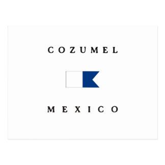 Postal Bandera alfa de la zambullida de Cozumel México
