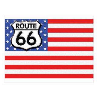 Postal Bandera americana de la ruta 66 patriótica