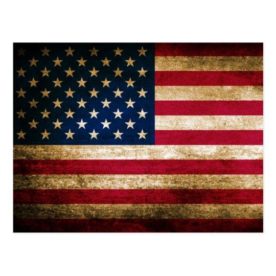 Postal Bandera americana del Grunge del vintage