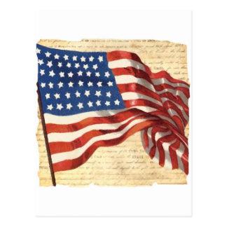 Postal Bandera americana del vintage