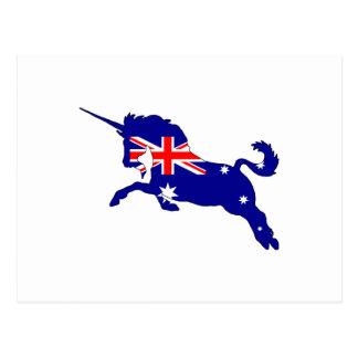 Postal Bandera australiana - unicornio
