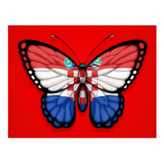 Postal Bandera croata de la mariposa en rojo