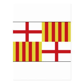 Postal Bandera de Barcelona, España
