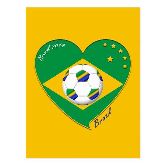 Postal Bandera de BRASIL FÚTBOL de campeones del mundo