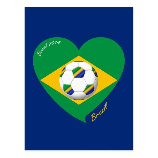 Postal Bandera de BRAZIL FÚTBOL equipo nacional 2014
