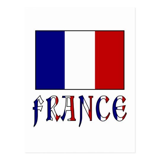 Postal Bandera De Francia Con Nombre Coloreado