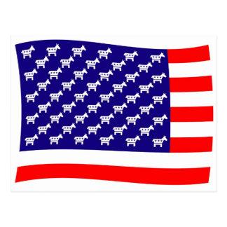 Postal Bandera de las barras y estrellas de Demócrata