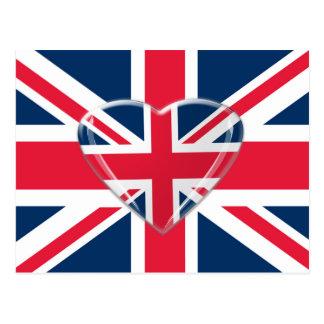 Postal Bandera de Union Jack con diseño del corazón