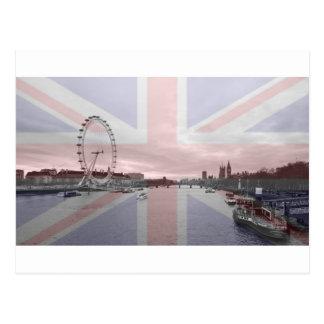 Postal Bandera de Union Jack del horizonte de Londres
