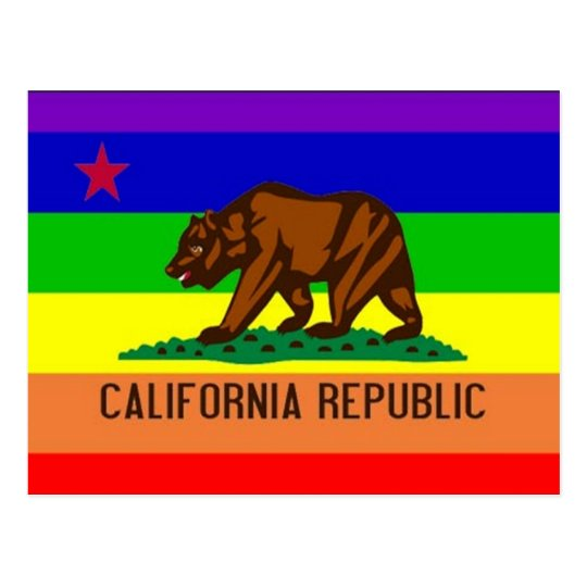 Postal Bandera del orgullo gay de California
