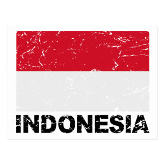 Postal Bandera del vintage de Indonesia