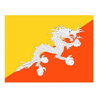 Postal Bandera nacional del mundo de Bhután