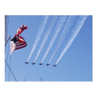 Postal Bandera patriótica y aviones de los E.E.U.U.