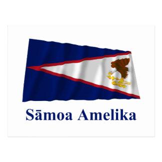Postal Bandera que agita de American Samoa con nombre en