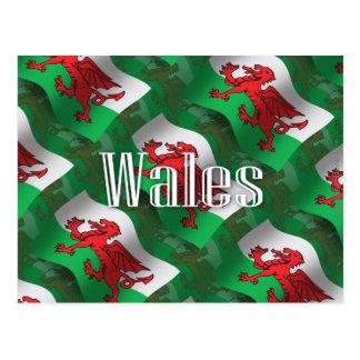 Postal Bandera que agita de País de Gales