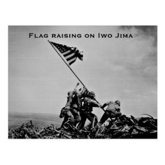 Postal Bandera que aumenta en Iwo Jima