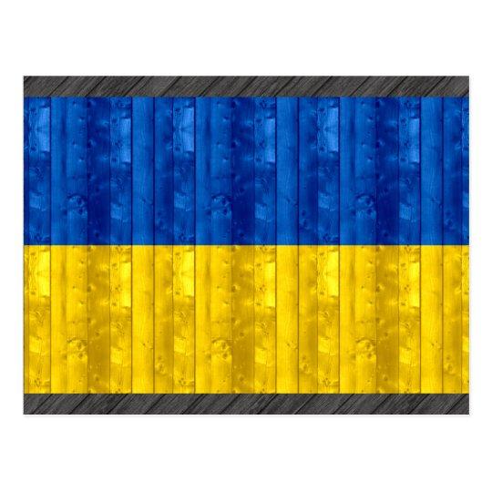 Postal Bandera ucraniana de madera