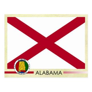 Postal Bandera y sello del estado de Alabama