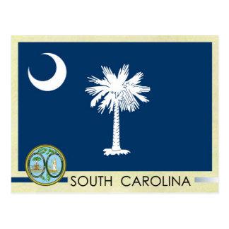 Postal Bandera y sello del estado de Carolina del Sur