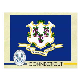 Postal Bandera y sello del estado de Connecticut