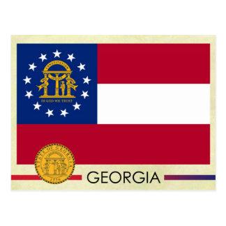 Postal Bandera y sello del estado de Georgia