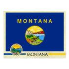 Postal Bandera y sello del estado de Montana