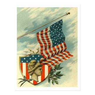Postal Bandera y señora Liberty