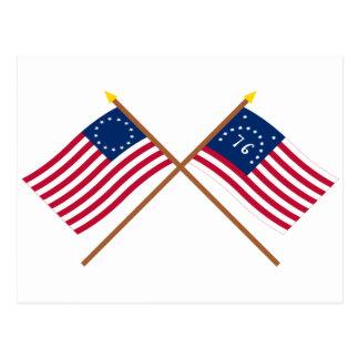 Postal Banderas cruzadas de Betsy Ross y de Bennington