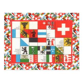 Postal Banderas de Cantonial de Suiza
