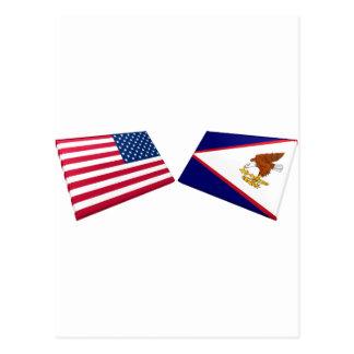 Postal Banderas de los E.E.U.U. y de American Samoa