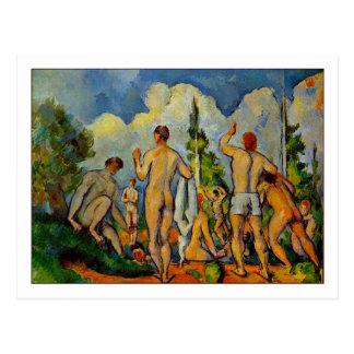 Postal Bañistas de Paul Cezanne