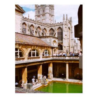 Postal Baño, baños romanos y abadía del baño