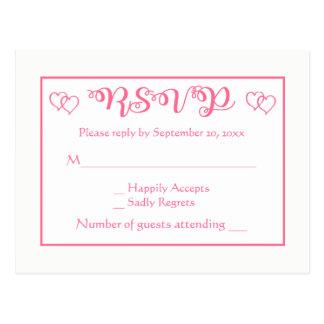 Postal Banquete de boda rosado y blanco de RSVP