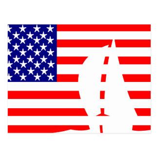 Postal Barco de vela de la bandera americana náutico