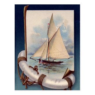 Postal Barco de vela del vintage con el salvador, la