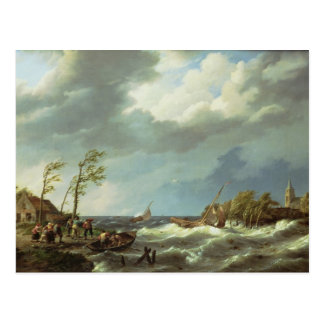 Postal Barco pesquero holandés cogido en una orilla de