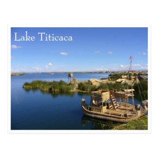 Postal barcos de los uros del titicaca
